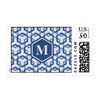 Navy and Blue Linked Hexes Postage