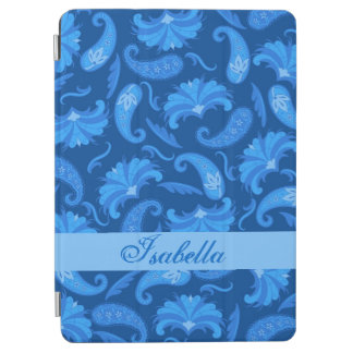 Navy and Blue Paisley Name Personalized iPad Air Cover