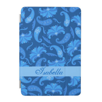 Navy and Blue Paisley Name Personalized iPad Mini Cover
