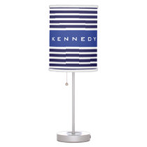 Navy and Blue White Stripe Pattern Table Lamp