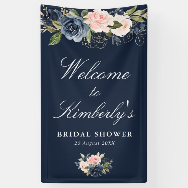 navy and blush floral bridal shower welcome sign