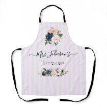 navy and blush floral personalized text Apron