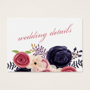 Navy and Blush Floral Wedding Business Card