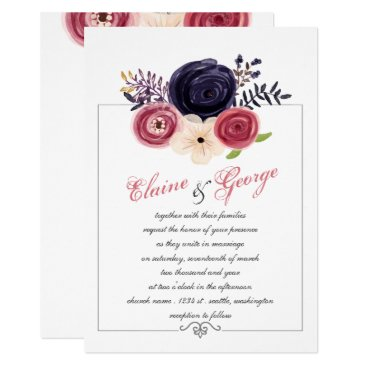 Navy and Blush Floral Wedding Card