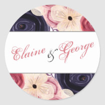 Navy and Blush Floral Wedding Classic Round Sticker