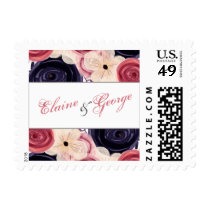 Navy and Blush Floral Wedding Postage