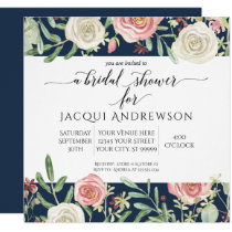 Navy and Blush Ivory Roses Floral Bridal Shower Invitation