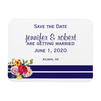 Navy and Blush Stripes and Flowers Save the Date Magnet