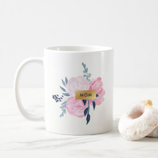 Navy and Blush Watercolor Flowers for Mom Coffee Mug
