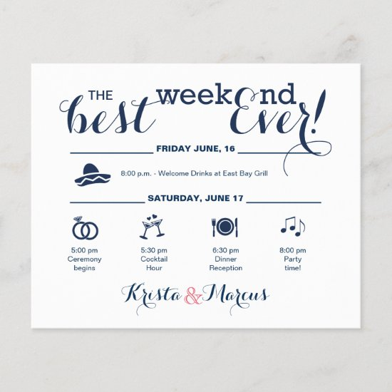 Navy and Blush Wedding Weekend Itinerary