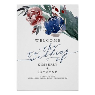 Art Themed Navy and Burgundy Floral Romantic Wedding Welcome Poster