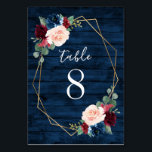 "Navy and Burgundy Gold Blush Wedding Table Numbers<br><div class=""desc"">Navy Blue Burgundy Gold Blush Pink Country Wedding Table Number Cards - feature a dark navy blue barn or wood grain background decorated with a printed gold geometric frame that's trimmed with floral and greenery elements in shades of navy, pink, burgundy and more. View the matching collection on this page...</div>"