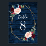 """Navy and Burgundy Gold Blush Wedding Table Numbers<br><div class=""""desc"""">Navy Blue Burgundy Gold Blush Pink Country Wedding Table Number Cards - feature a dark navy blue barn or wood grain background decorated with a printed gold geometric frame that's trimmed with floral and greenery elements in shades of navy, pink, burgundy and more. View the matching collection on this page...</div>"""