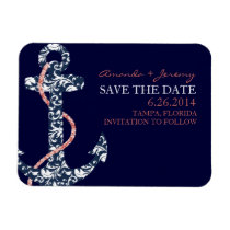 Navy and Coral Anchor Beach Save The Date Magnet