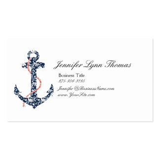 Navy and Coral Anchor Beach Vacation Business Card