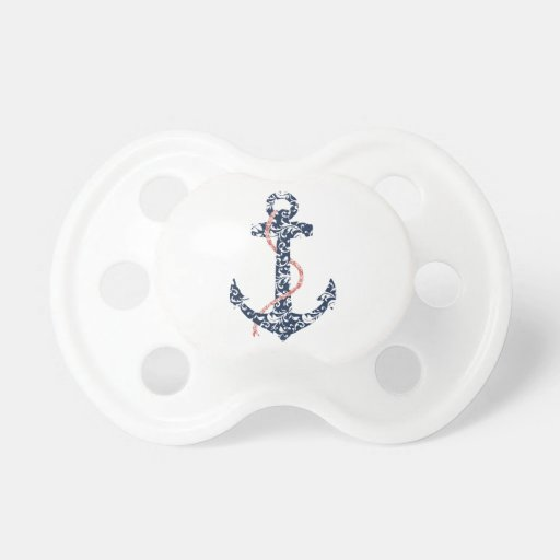 Navy and Coral Anchor Beach Wedding Baby Pacifiers