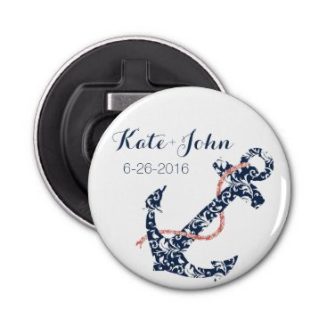 Beach Themed Navy and Coral Anchor Beach Wedding Bottle Opener