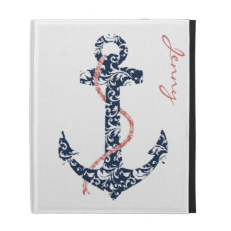 Navy and Coral Anchor Beach Wedding iPad Folio Covers