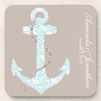 Navy and Coral Anchor Beach Wedding Coaster
