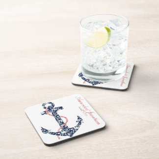 Navy and Coral Anchor Beach Wedding Drink Coaster