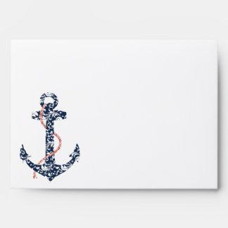 Navy and Coral Anchor Beach Wedding Envelopes