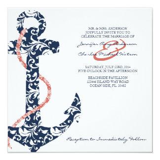 Navy and Coral Anchor Beach Wedding Invitation