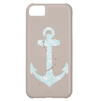 Navy and Coral Anchor Beach Wedding iPhone 5C Case