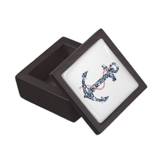 Navy and Coral Anchor Beach Wedding Jewelry Box