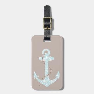 Navy and Coral Anchor Beach Wedding Travel Bag Tags