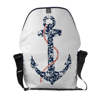 Navy and Coral Anchor Beach Wedding Courier Bag