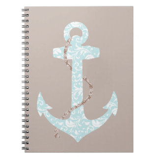 Navy and Coral Anchor Beach Wedding Notebook