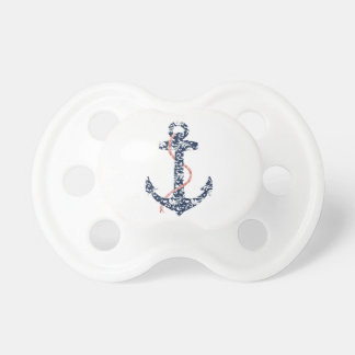 Navy and Coral Anchor Beach Wedding Pacifier