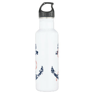 Navy and Coral Anchor Beach Wedding 24oz Water Bottle