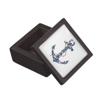 Navy and Coral Anchor Beach Wedding Premium Trinket Boxes