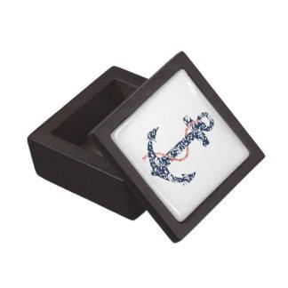 Navy and Coral Anchor Beach Wedding Premium Trinket Boxes