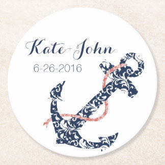 Navy and Coral Anchor Beach Wedding Round Paper Coaster