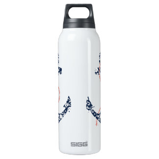 Navy and Coral Anchor Beach Wedding 16 Oz Insulated SIGG Thermos Water Bottle