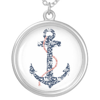 Navy and Coral Anchor Beach Wedding Silver Plated Necklace