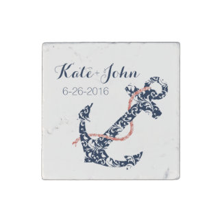 Navy and Coral Anchor Beach Wedding Stone Magnet