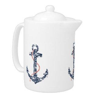 Navy and Coral Anchor Beach Wedding Teapot