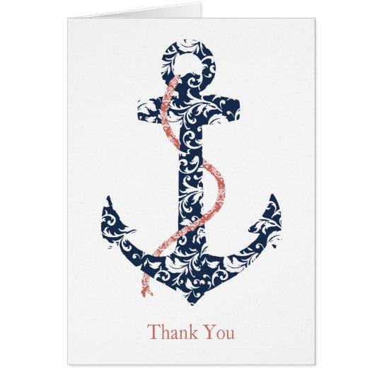 Navy and Coral Anchor Beach Wedding Thank You Card