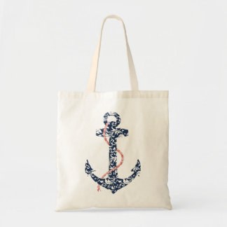 Navy and Coral Anchor Beach Wedding Tote Bag