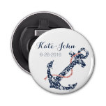 Navy and Coral Anchor Beach Wedding Button Bottle Opener