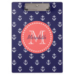 Navy and Coral Anchors Custom Monogram Clipboards