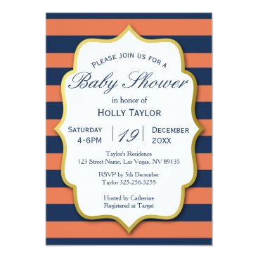 Beach Themed Navy and Coral Baby Shower Invitation
