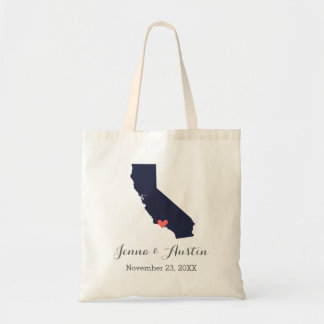 Navy and Coral California Wedding Welcome Tote Canvas Bag