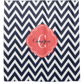 navy and coral shower curtain. Navy and Coral Chevron Monogram Shower Curtain Curtains  Zazzle
