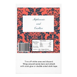 Navy and Coral Damask Wedding Large Candy Bar Wrap Flyer