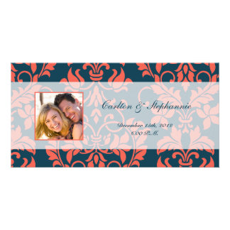 Navy and Coral Damask Wedding Photo Announcement
