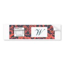 Navy and Coral Damask Wedding Water Bottle Label